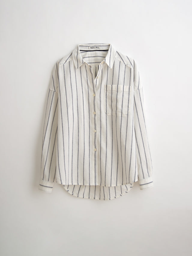 Oversized Button-Down in Vertical Stripe