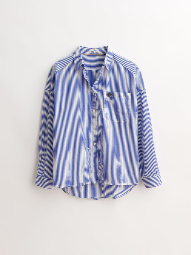 Keeper Button-Down in Striped Portuguese Poplin