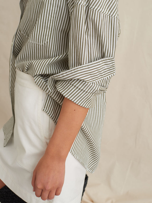 Oversized Button-Down in Striped Portuguese Poplin