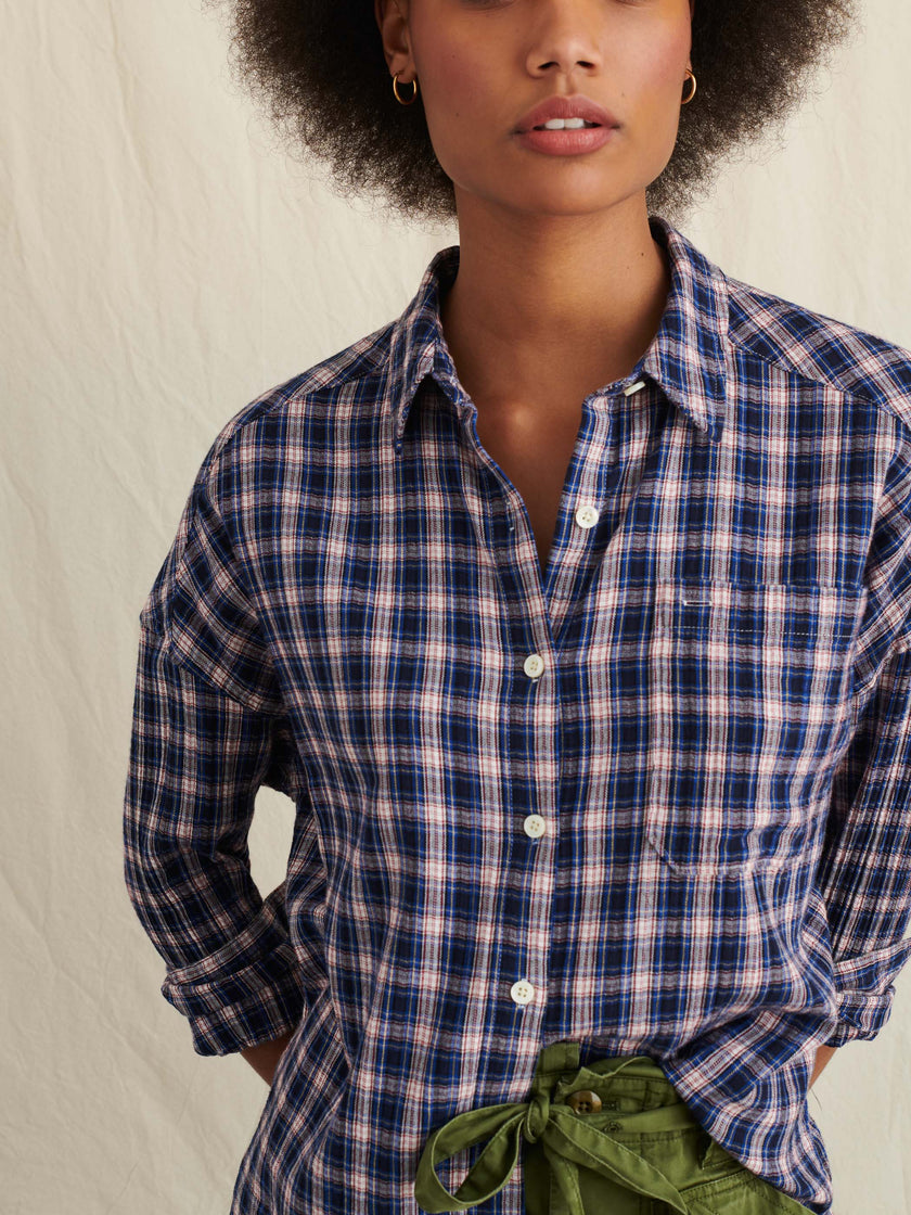 Keeper Oversized Button-Down in Textured Plaid