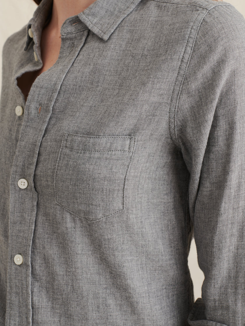Shrunken Button-Down Shirt in Double Gauze Cotton