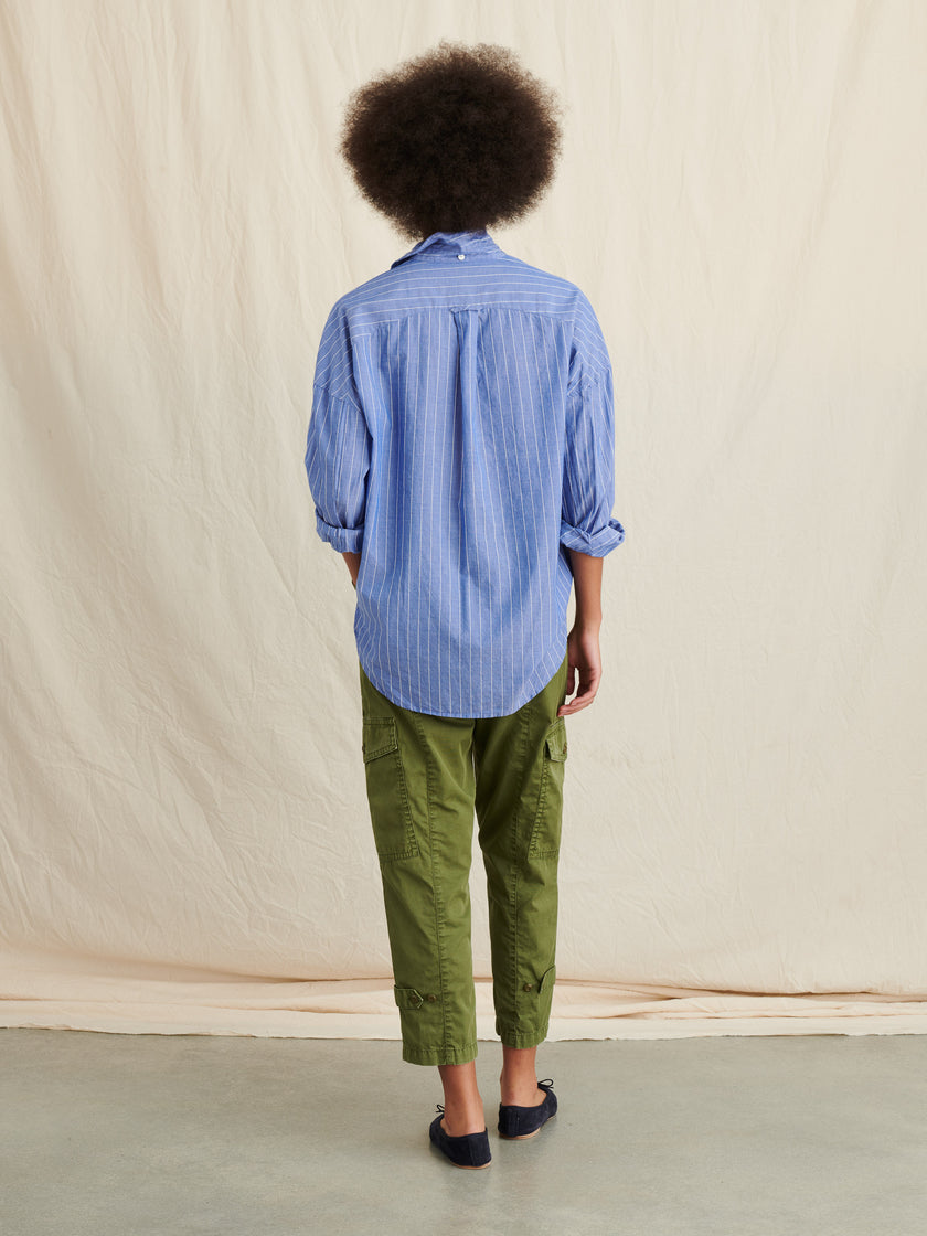 Keeper Oversized Popover in Striped Cotton Gauze