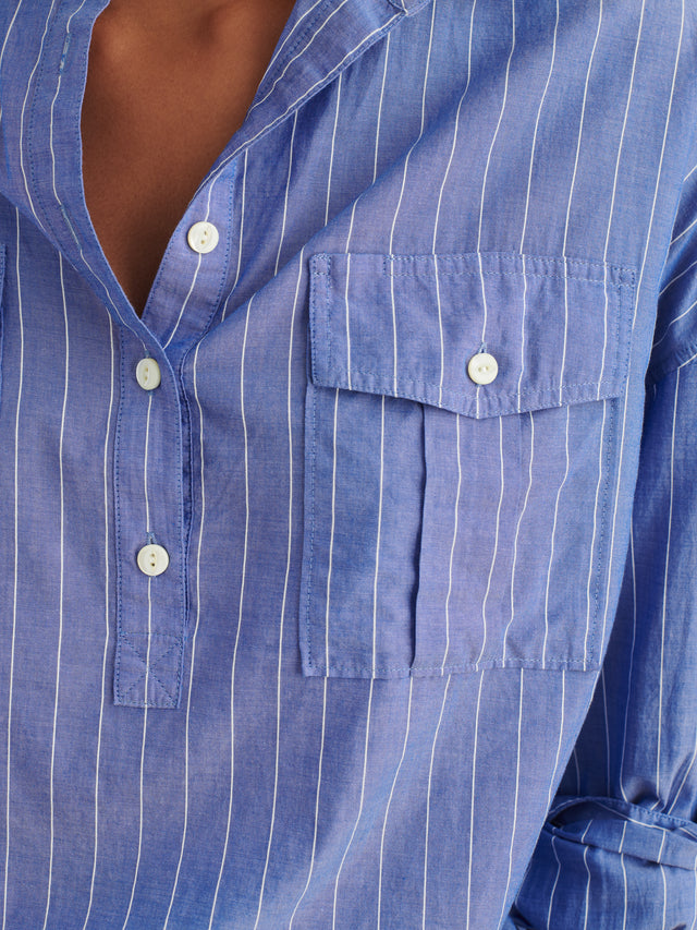 Keeper Popover in Striped Cotton Gauze