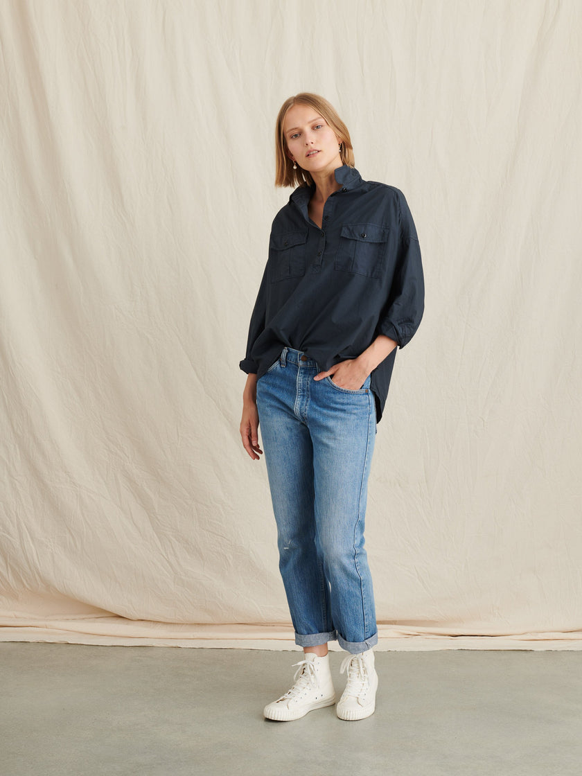 Keeper Oversized Popover in Garment-Dyed Paper Cotton