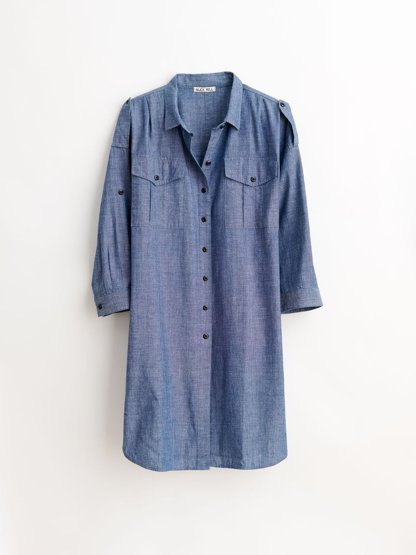 Military Shirtdress in Chambray Cotton