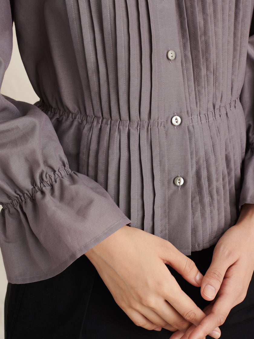 Pleated V-Neck Blouse in Cotton Voile