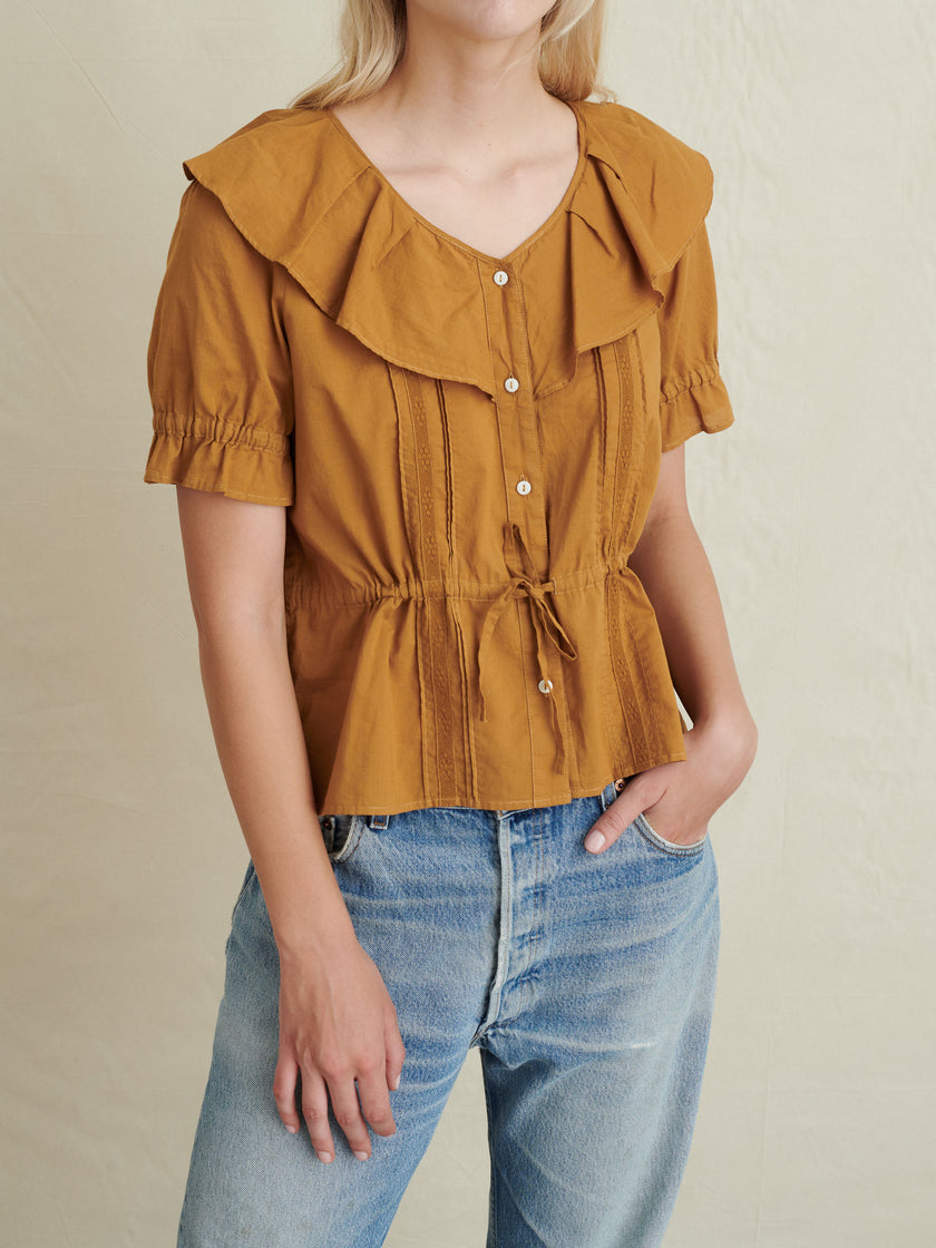Ruffle Neck Blouse in Garment-Dyed Cotton