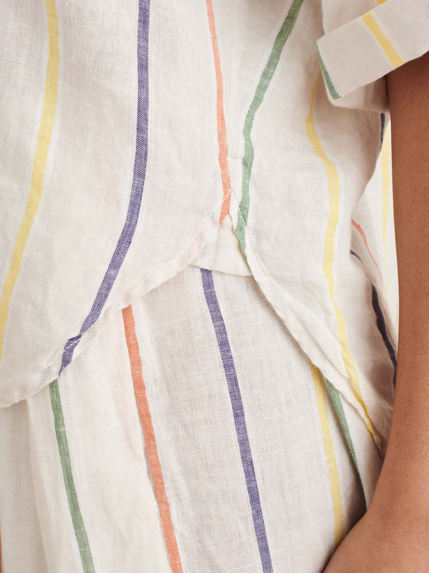 Charlie Shirt in Sugar Stripe Linen