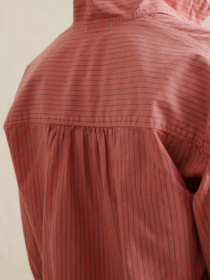 Ren Popover in Garment-Dyed Striped Cotton