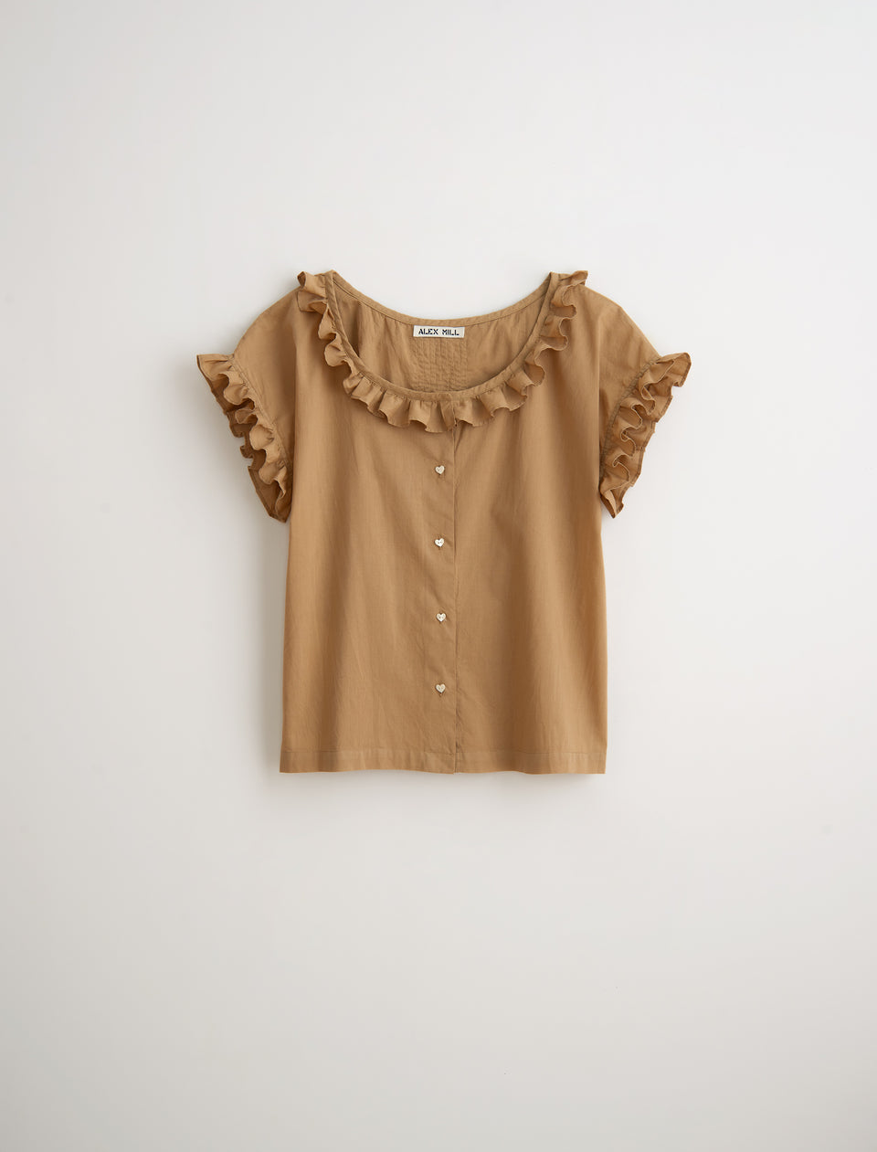Garment Dyed Ruffled Top