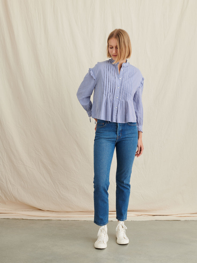 Pleated Ruffle Top in Striped Cotton Voile
