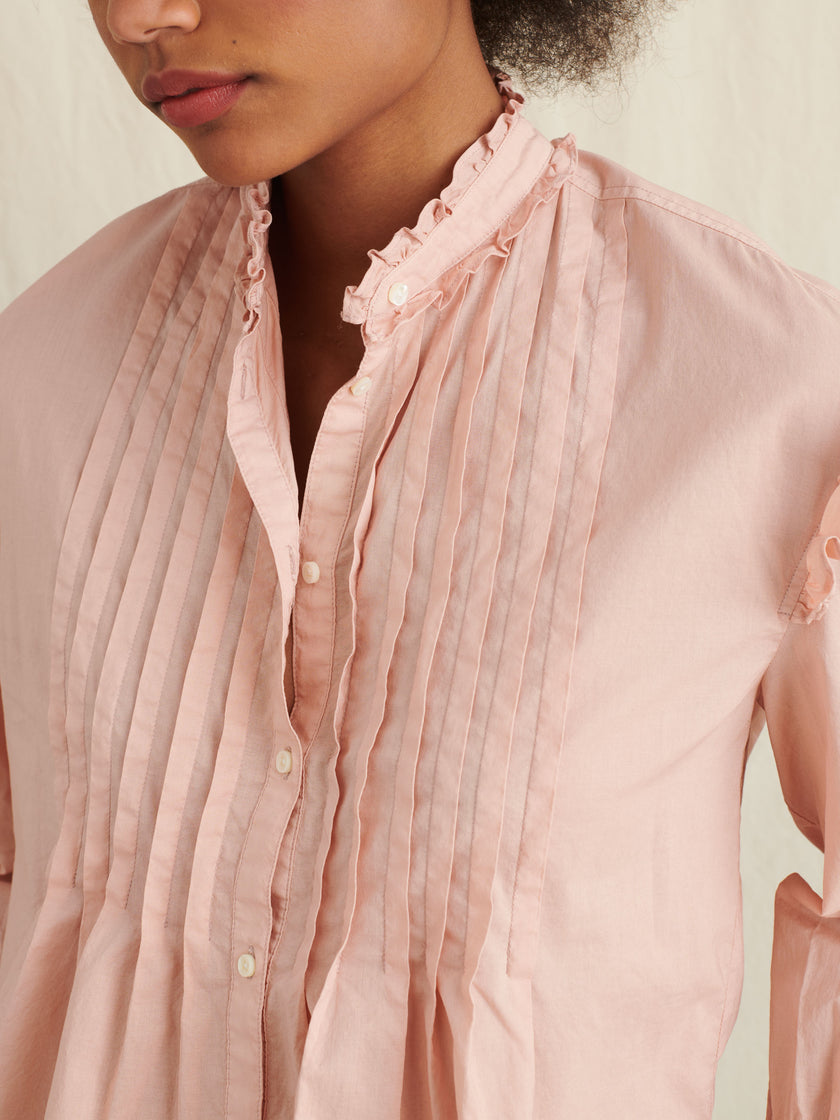 Pleated Ruffle Top in Garment-Dyed Cotton Voile