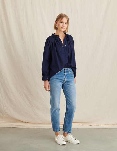 Britt Popover in Garment-Dyed Cotton Voile