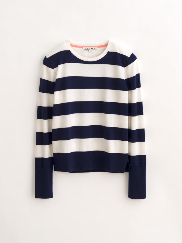 Long-Sleeve Sweater in Striped Cotton Cashmere
