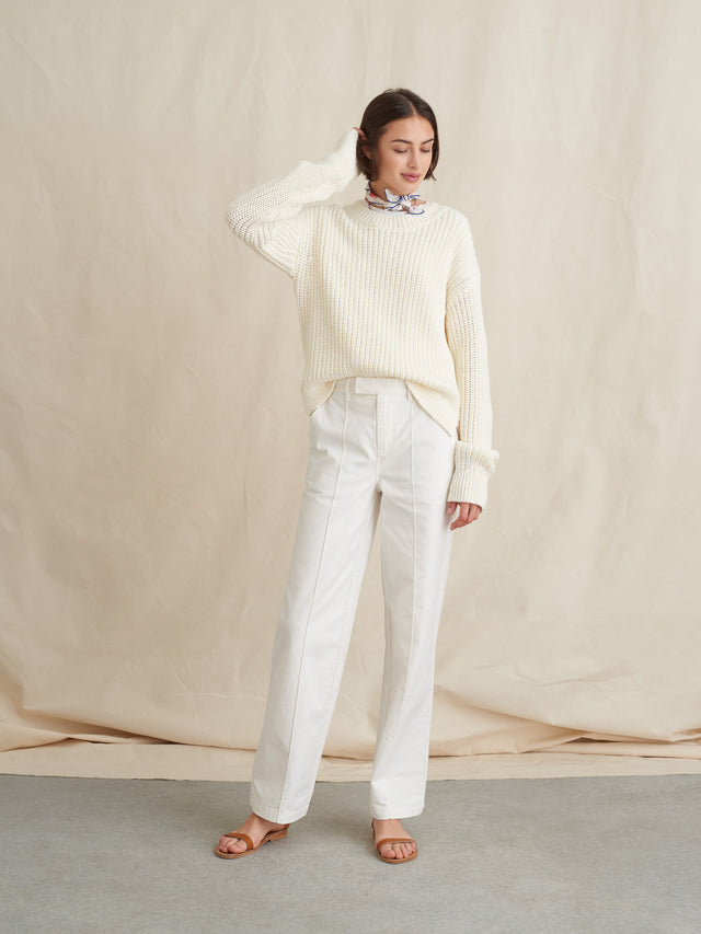 High-Rise Trouser in Garment-Dyed Cotton Twill