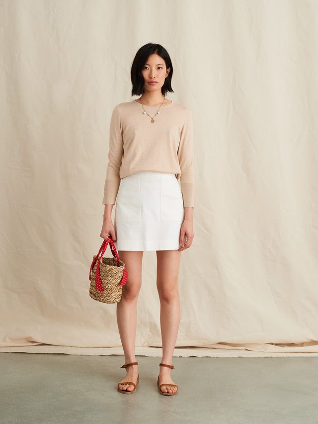 Long-Sleeve Sweater in Cotton Cashmere