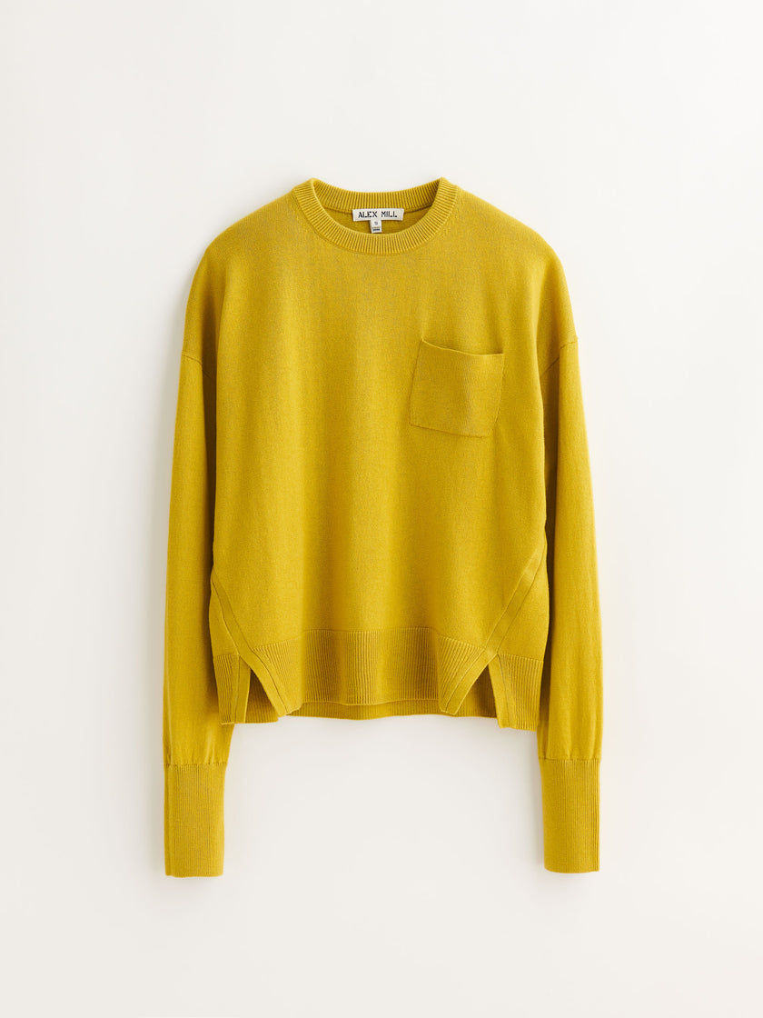 Cropped Pocket Sweater in Cotton Wool Blend