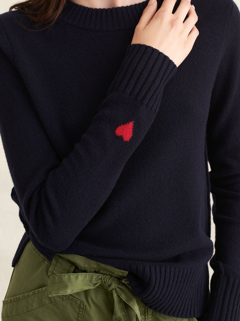 Heart-On-Sleeve Merino Wool Sweater