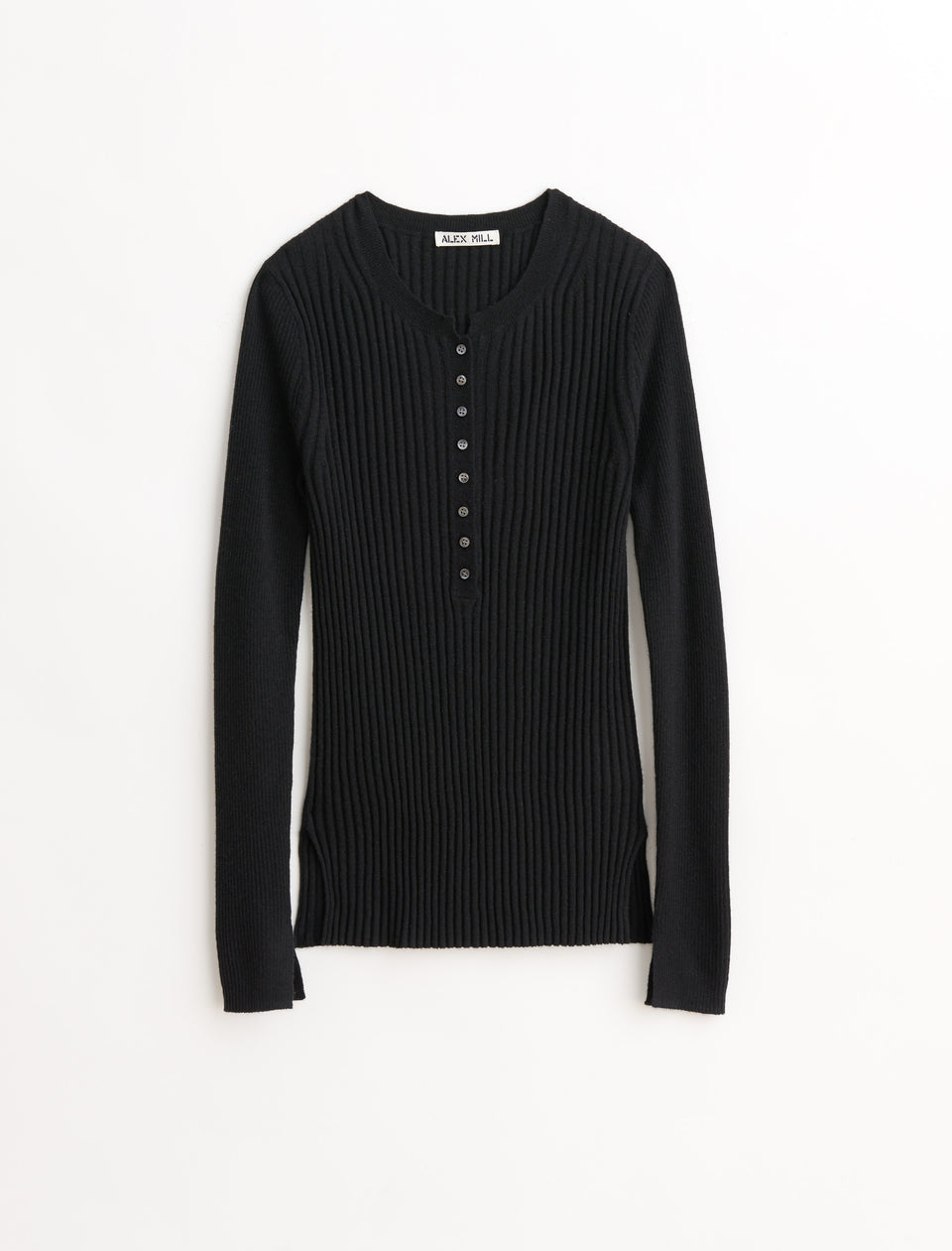 Ribbed Henley in Wool Silk Blend