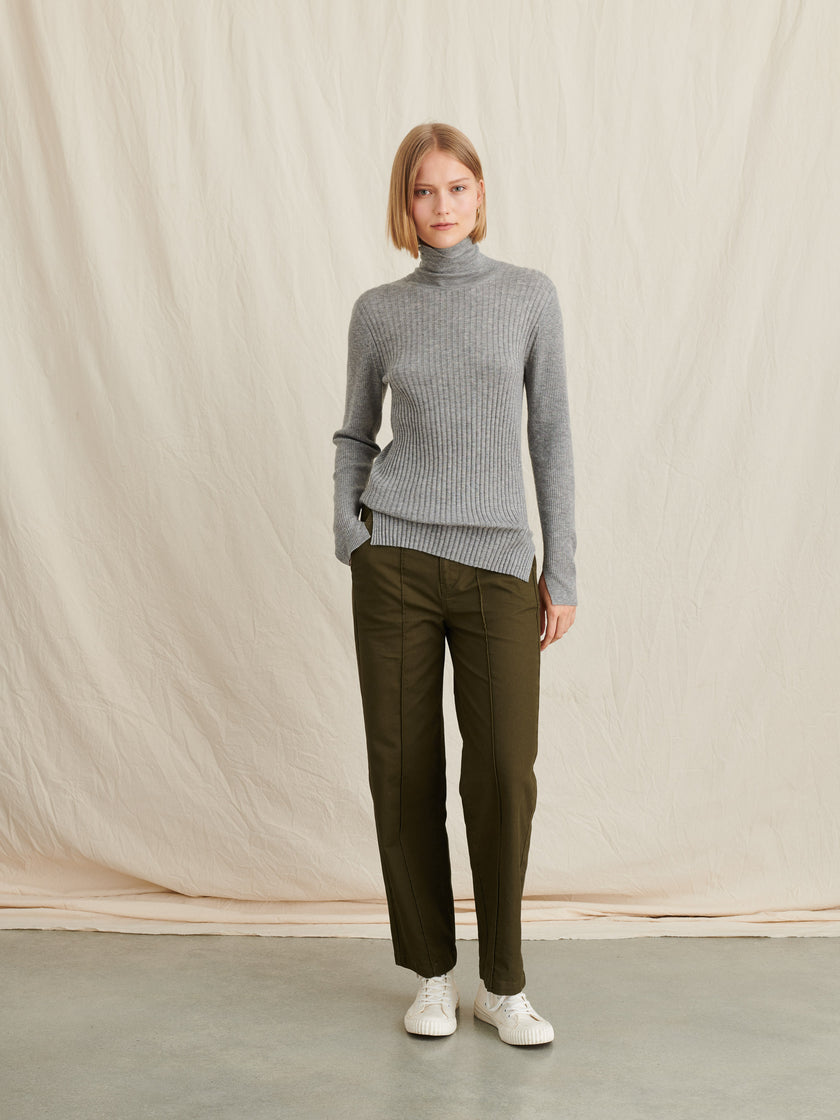 Striped Ribbed Turtleneck in Wool Silk Blend
