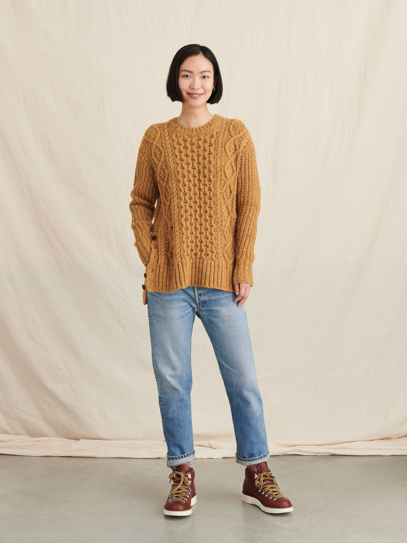 Side-Button Donegal Sweater