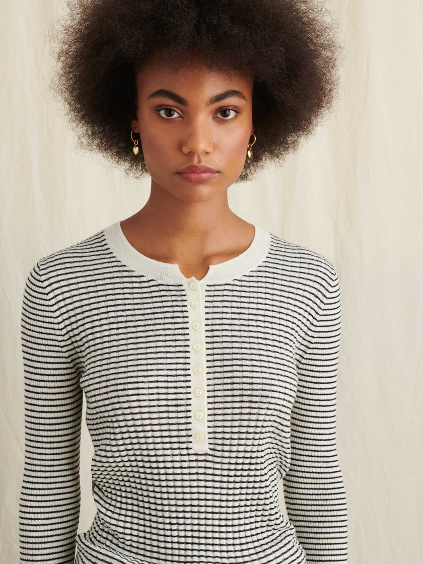 Striped Ribbed Henley in Wool Silk Blend