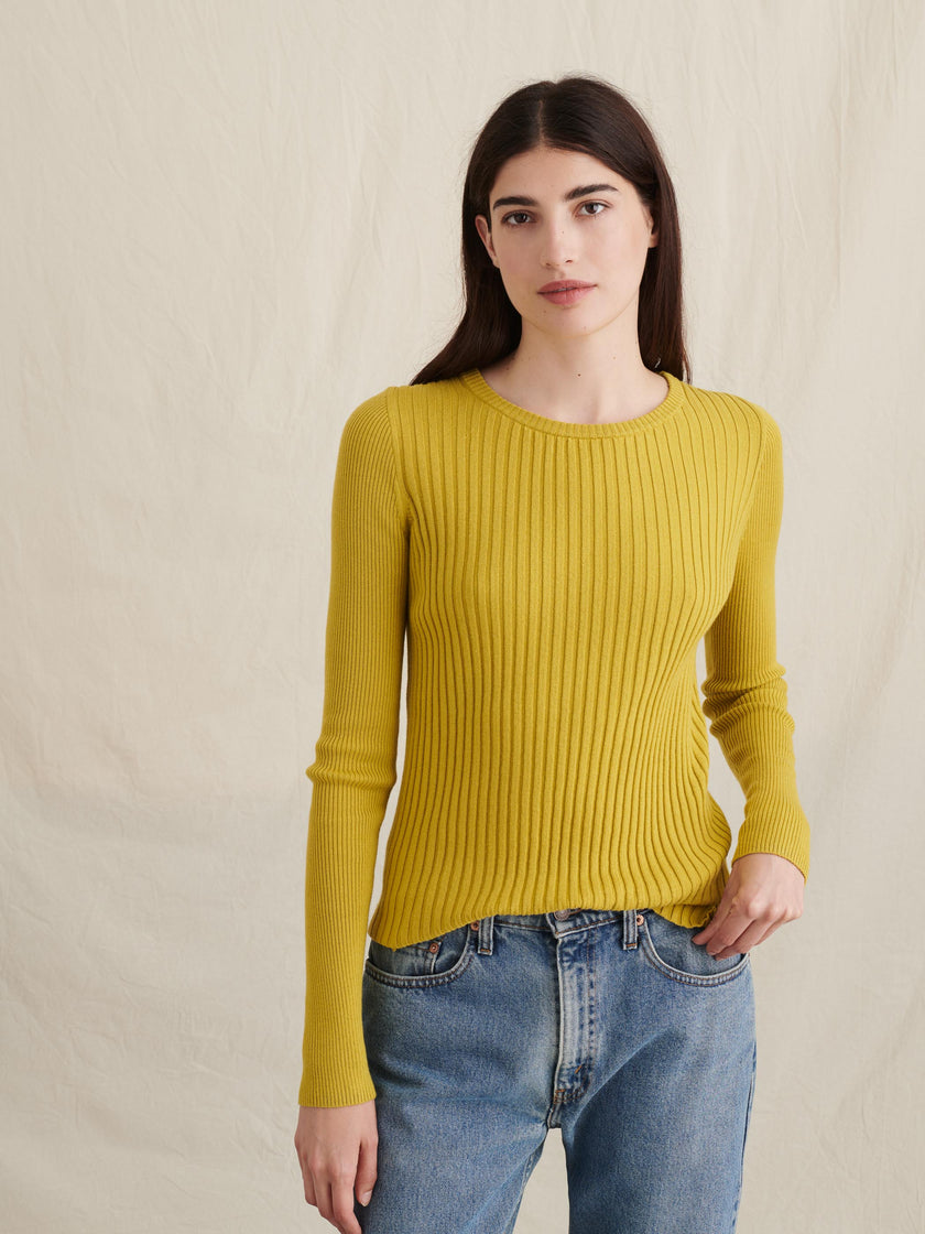Ribbed Crewneck Sweater in Wool Cotton Blend