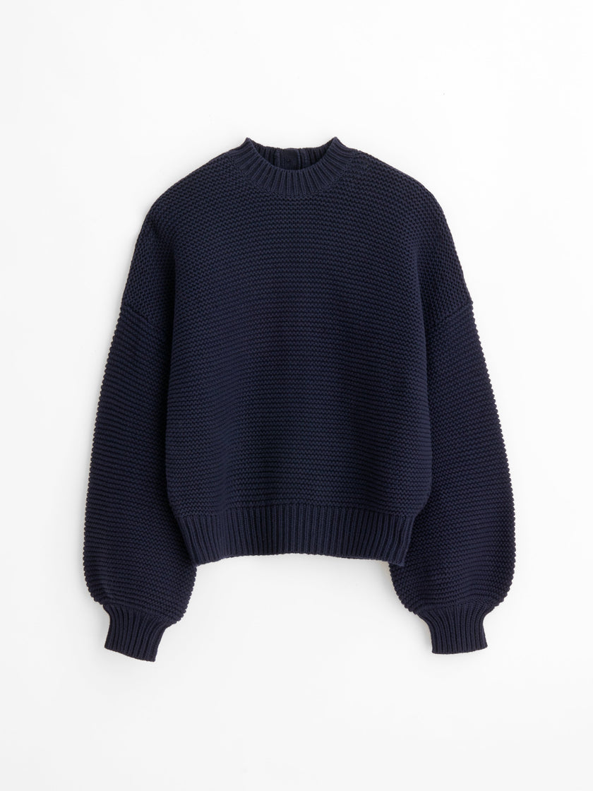 Button-Back Crewneck Sweater