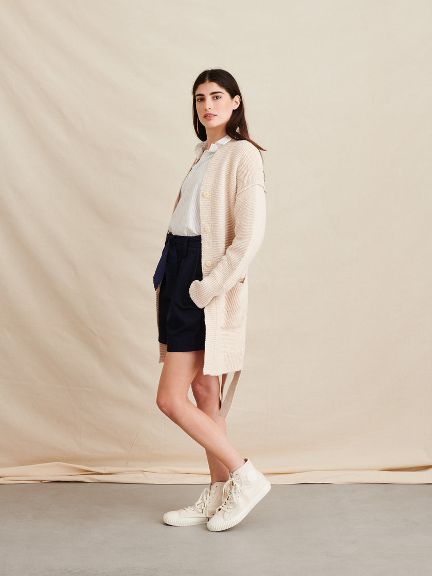 Long Belted Cotton Cardigan
