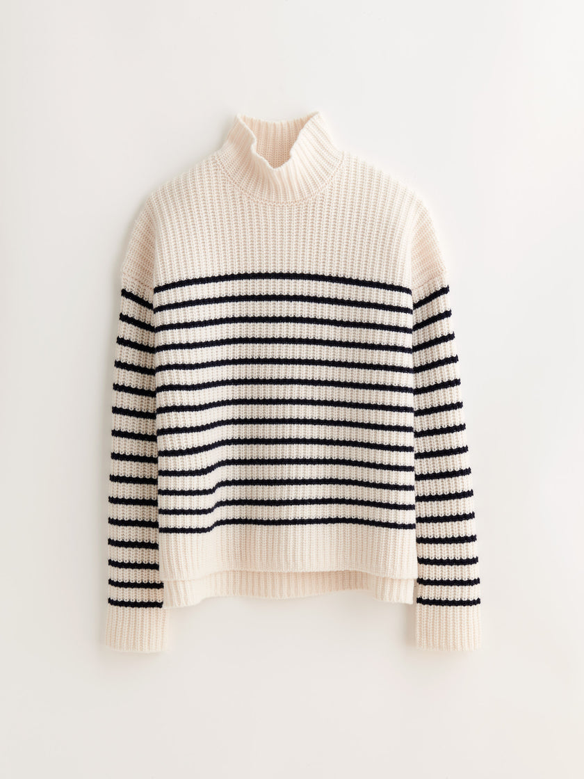 Oversized Turtleneck in Striped Cashmere Merino Wool