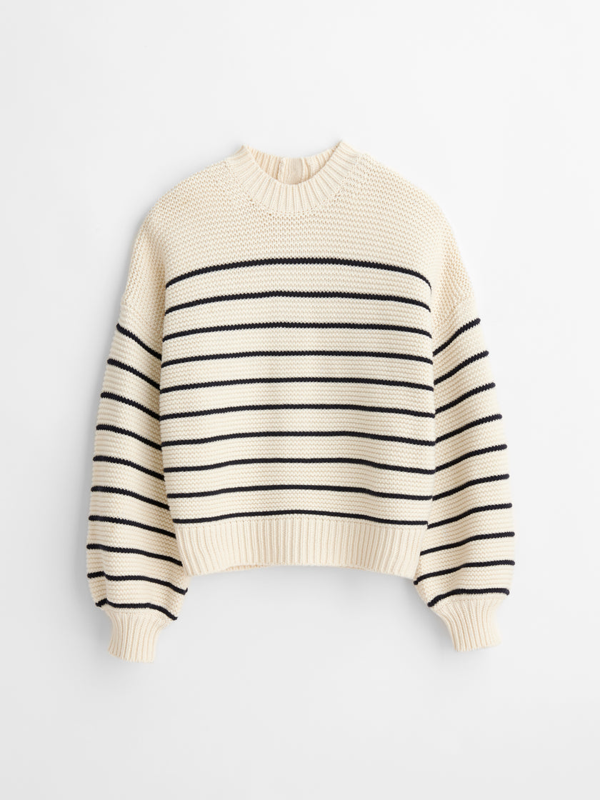 Button-Back Crewneck Sweater in Stripe