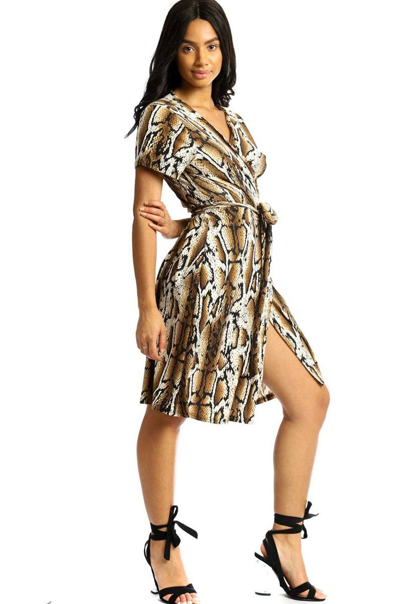 Brown Snake Print Wrap Dress - SerenityChic S
