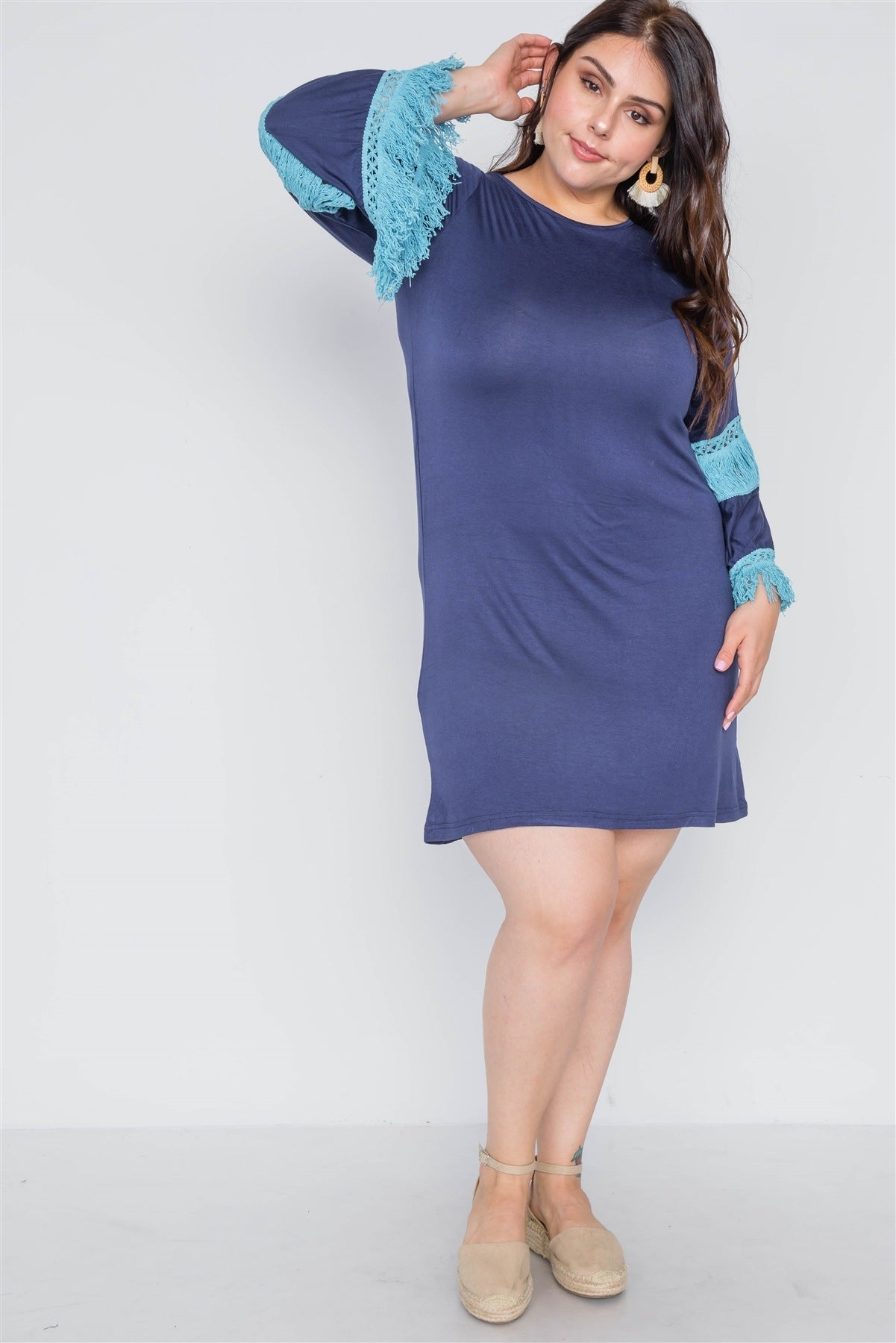 Plus Size Crochet Mini Dress - Navy