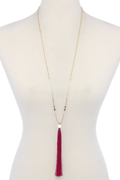Long Tassel Pendant Necklace - SerenityChic Fuchsia