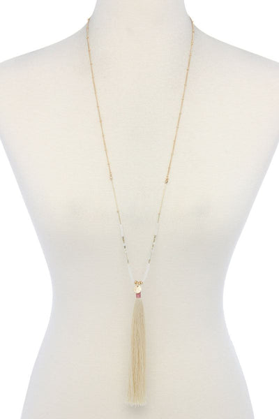 Long Tassel Pendant Necklace - SerenityChic White
