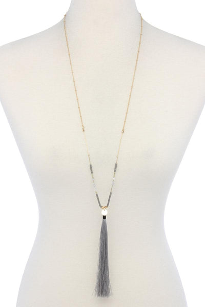 Long Tassel Pendant Necklace - SerenityChic Grey
