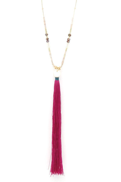 Long Tassel Pendant Necklace - SerenityChic