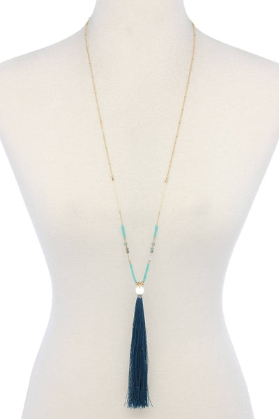 Long Tassel Pendant Necklace - SerenityChic Teal