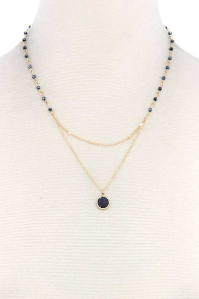 Layered Gemstone Necklace - SerenityChic Black