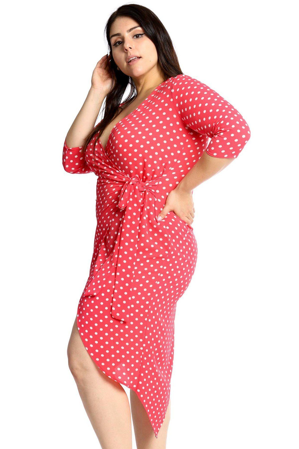 Plus Size Polka Dots Chiffon Wrap Dress - Coral