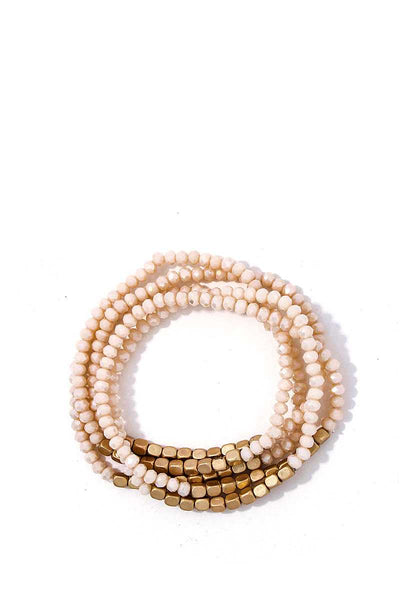 Stacking Beaded Bracelet Set - SerenityChic Beige
