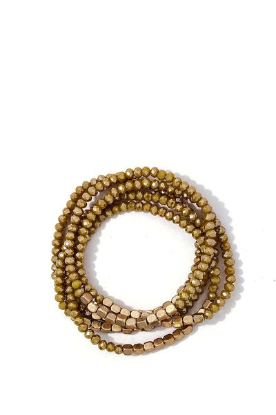 Stacking Beaded Bracelet Set - SerenityChic Mustard