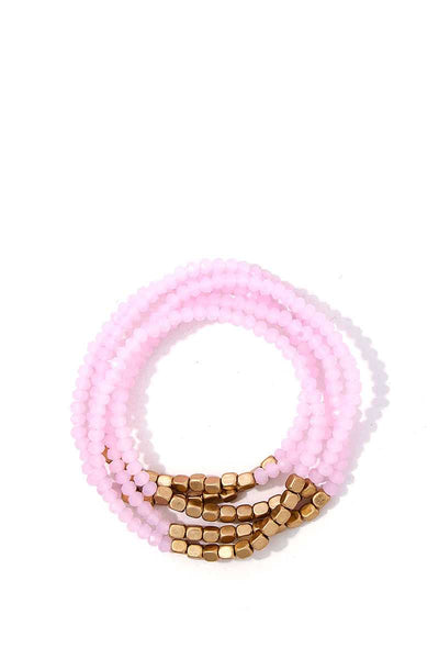 Stacking Beaded Bracelet Set - SerenityChic Pink