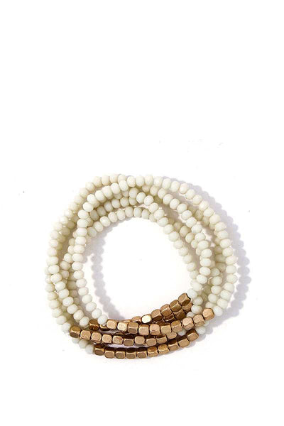 Stacking Beaded Bracelet Set - SerenityChic White