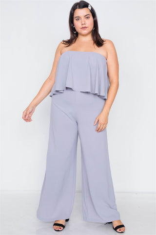 Plus Size Strapless Flounce Wide Leg Jumpsuit - Dove Gray - SerenityChic