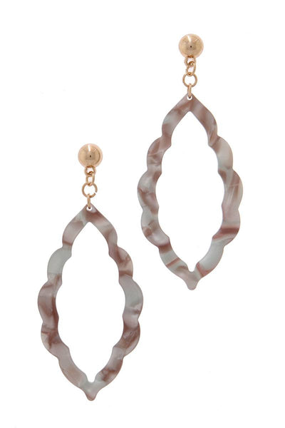 Acetate Moroccan Drop Earrings - SerenityChic Grey
