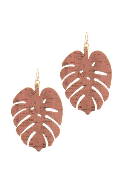 Tropical Leaf Earrings - SerenityChic Peach