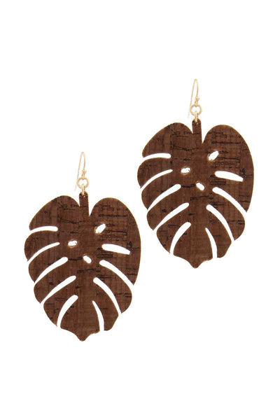 Tropical Leaf Earrings - SerenityChic Brown