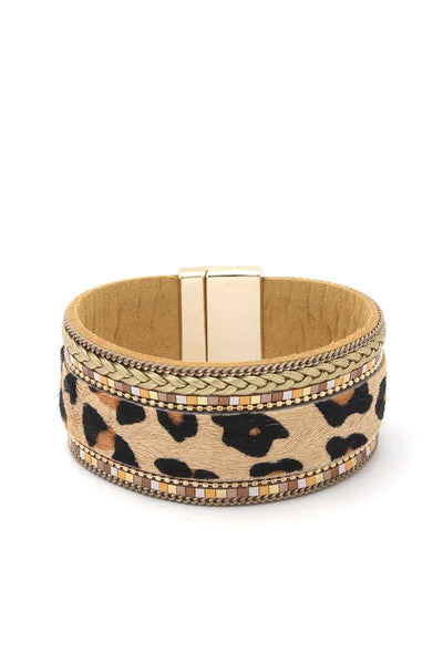 Animal Print Magnetic Cuff - SerenityChic Tan