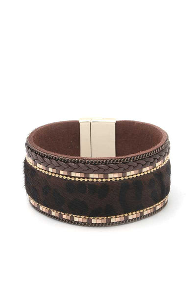 Animal Print Magnetic Cuff - SerenityChic Brown